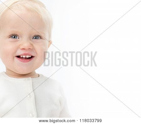little child baby smiling portrait warm clothing isolated on white studio shot