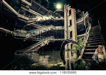 Dramatic View Of Damaged And Abandoned Building