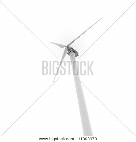 Eco-friendly Wind Turbine Seen From Below On White Background.