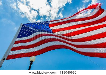 United States Flag Flapping In The Breeze
