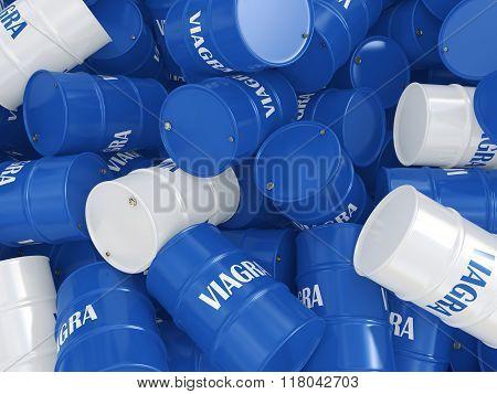 Viagra blue barrel on a white background