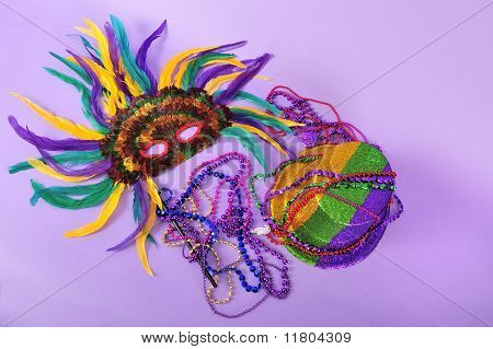 Mardi Gras Still Life Feathered Mask Shiny Party Hat Beads Series