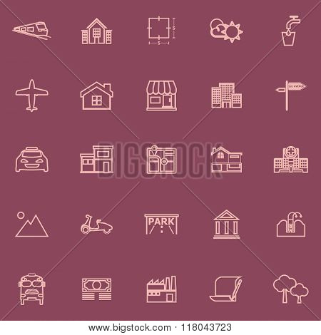 Real Estate Flat Line Pink Color Icons