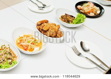 Thailand Isaan food on table for background