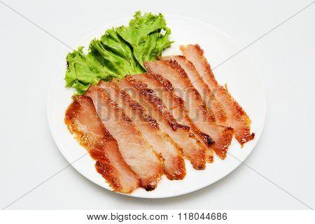 Roast pork thai style food on white background