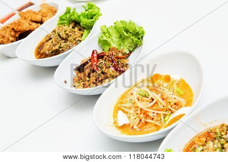 Thailand Isaan food isolate on white table