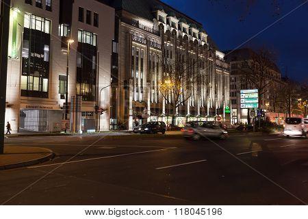 Dusseldorf At Night In Dusseldorf, Germany. Dusseldorf Is The Capital City Of The German State Of No