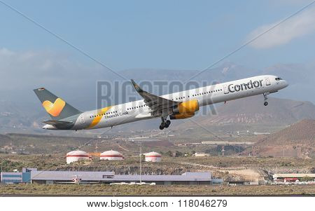 Thomas Cook Condor Boeing 757-300 is taking off from Tenerife South airport