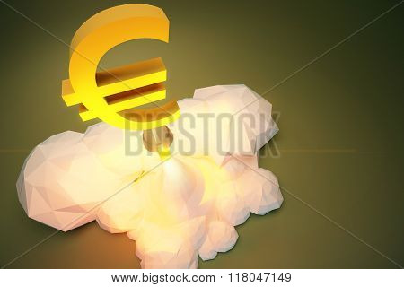 Profit Concept  With Euro Sign Takes Off From Baikonur, Polygonal Concept