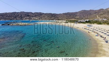 Aerial View Of The Beaches Of Greek Island Of Ios Island, Cyclades, Greece.