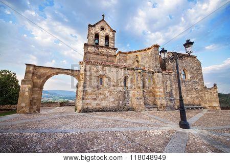 Church of San Vicente Martir and San Sebastian at dusk in Frias Burgos Spain.