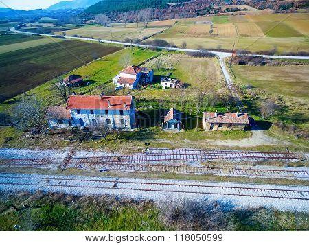 Old Abandoned Train Racks, Railways. Aerial View.