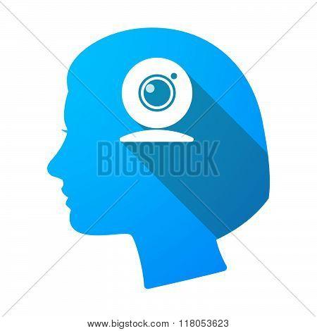 Long Shadow Female Head With A Web Cam