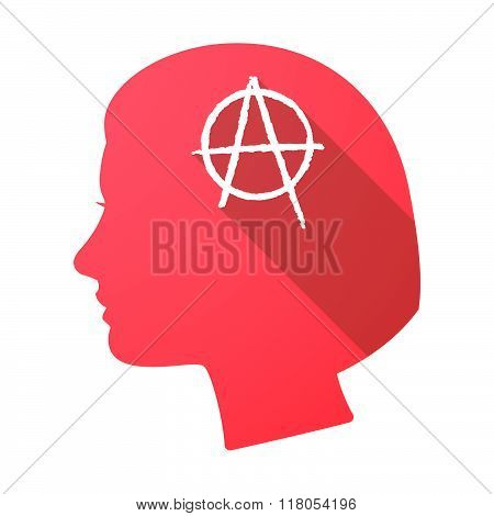 Long Shadow Female Head With An Anarchy Sign