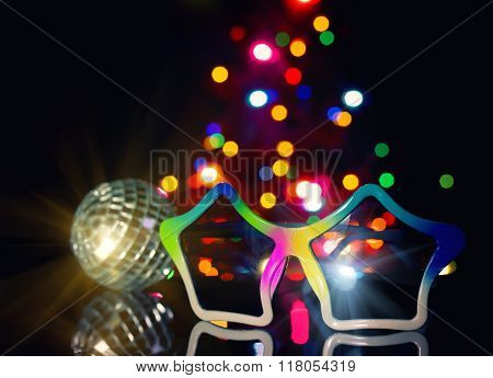 Party Disco Background, Sunglasses And A Disco Ball,