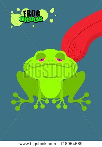Narcotic Frog. Acid Toad. Narcotic Amphibious. Tongue Licking Addict Psych Frog. Toxic Hallucinogeni