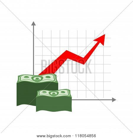 Graph Growth Money. Red Up Arrow. Increase In Cash Profit. Bundle Of Dollars. Increase Amount Of Mon