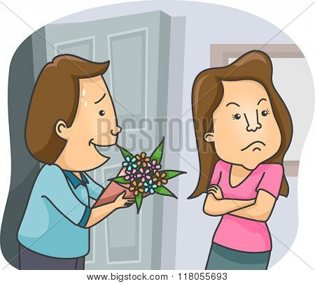 Illustration of a Man Offering a Bouquet of Flowers as an Apology