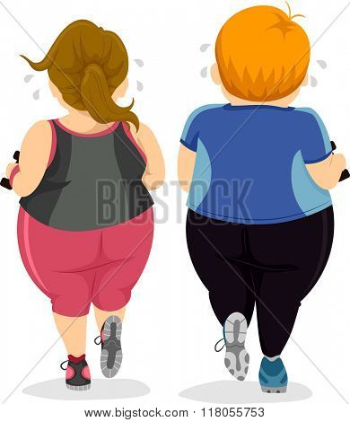 Illustration of a Couple Doing their Workout Routine