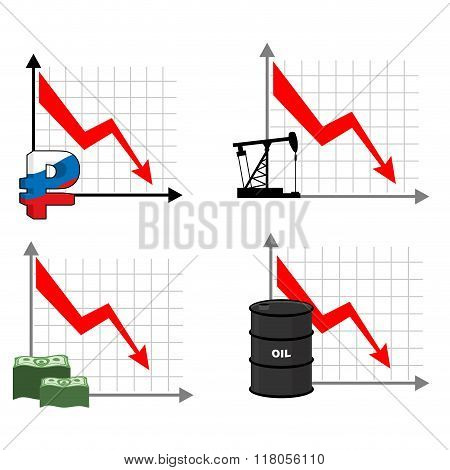 Falling Rates Of Rouble And Oil. Red Down Arrow. Reducing Cost Of Barrels Of Oil. Reduction Quotes R