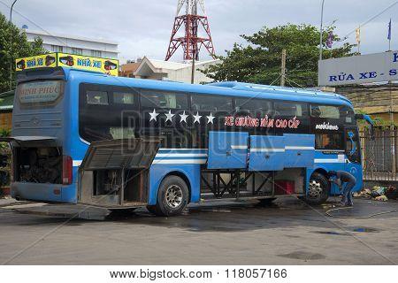 Preparation of a long-distance bus to the flight. Vung Tau, Vietnam