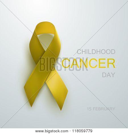 Childhood Cancer Awareness Yellow Ribbon.