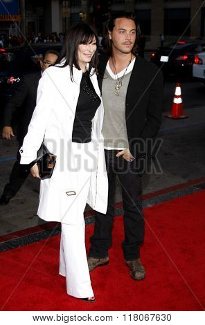 Anjelica Huston and Jack Huston at the Los Angeles Premiere of