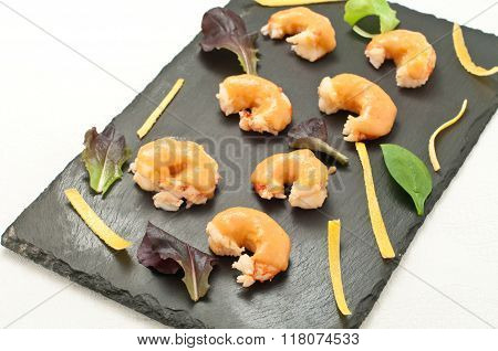 Prawns Cooked In Bisque With Grapefruit Sauce