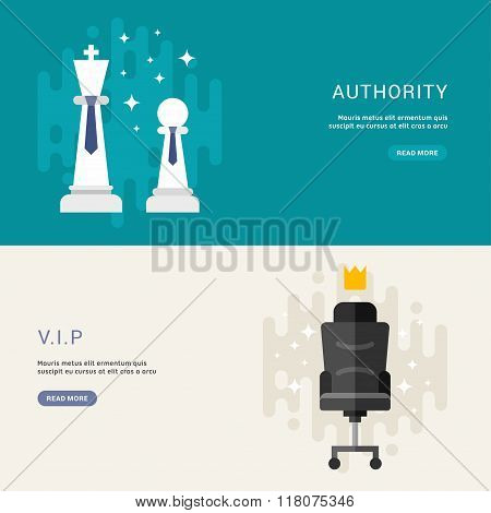 Set Of Business Concepts For Web Banners. Vip, Authority. Vector Illustration In Flat Design Style