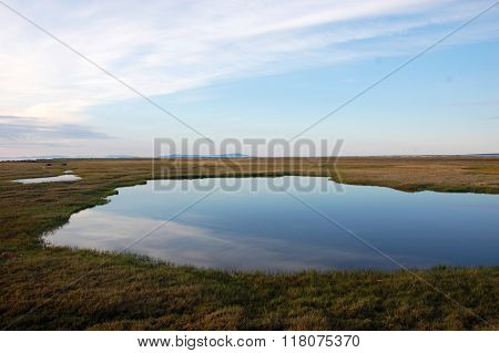 Tundra Lake At Arctic Island Chukotka