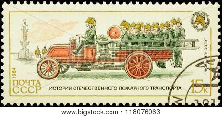 Fire Engine Lessner (1904) With Firefighters Brigade On Postage Stamp
