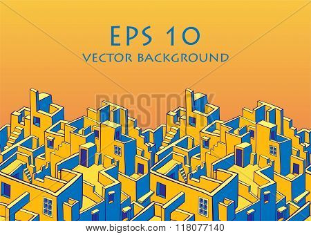 Old town seamless vector background