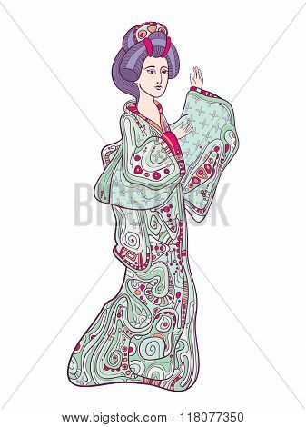 Japanese traditional doll ningyo vector illustration