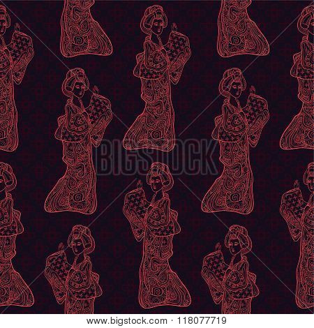 Japanese traditional doll seamless pattern