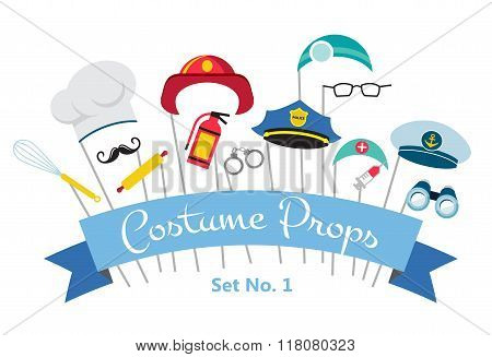 costume party and photo booth props. profession