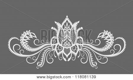 Decorative Elements Of A Pattern Of Flowers, Leaves And Curls