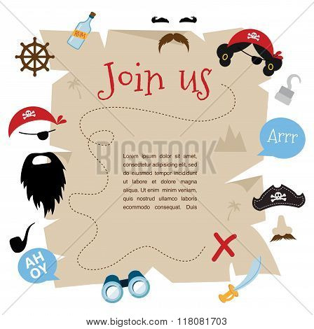 pirate party invitation card design. vector illustration