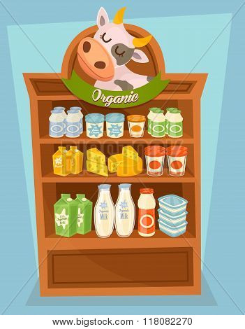 Dairy products on supermarket shelf, dairy food. Different vector dairy products. Milk products, cream and other dairy food. Organic farmers food. Organic food and dairy product concept. Milk product icon. Cartoon dairy product. Dairy icon.