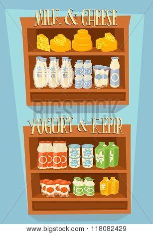 Supermarket Shelf, Dairy Products. Milk Carton, Yogurt and other Dairy on Supermarket Shelf. Food Shelf, Dairy Shelf. Organic farmers food. Organic food and dairy product concept. Milk product icon. Cartoon dairy product. Dairy icon. Milk.