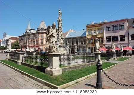 Monument On Central Square In Kosice.
