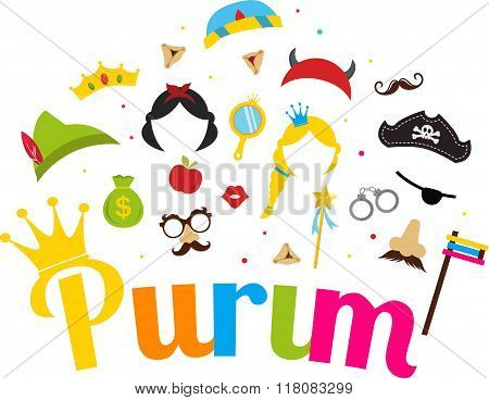 Jewish holiday Purim set of costume accessories. happy purim in hebrew