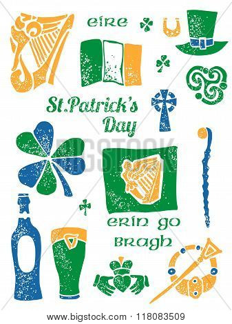 Patricks Day symbol set in lino style