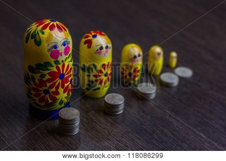 Russian coins and russian nesting doll matryoshka