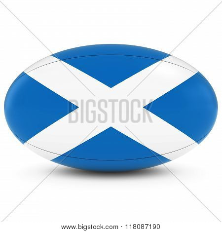 Scotland Rugby - Scottish Flag On Rugby Ball On White