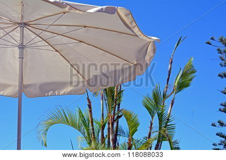 Poolside with umbrella. Canary Islands.Spain.