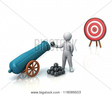 Man, Cannon And Target