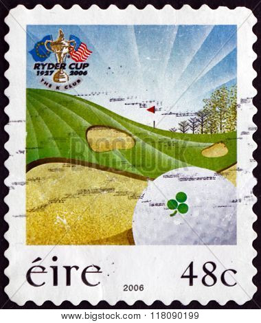 Postage Stamp Ireland 2006 Golf Ball In Sand Trap