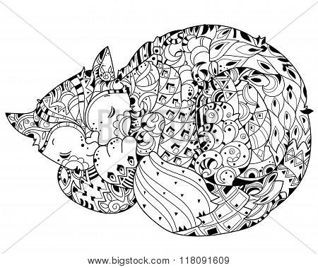 Hand drawn doodle outline cat sleeping