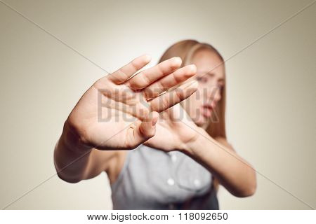 Irritated Woman Showing Her Hand Against Please Stop. Negative Emotion Facial Expression Feelings, S