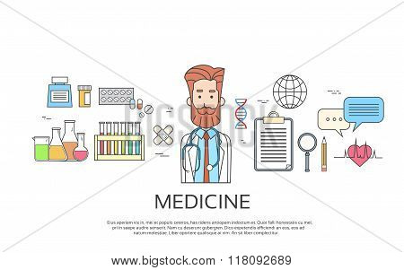 Medical Doctor Icon Male Portrait Medicine Banner Thin Line